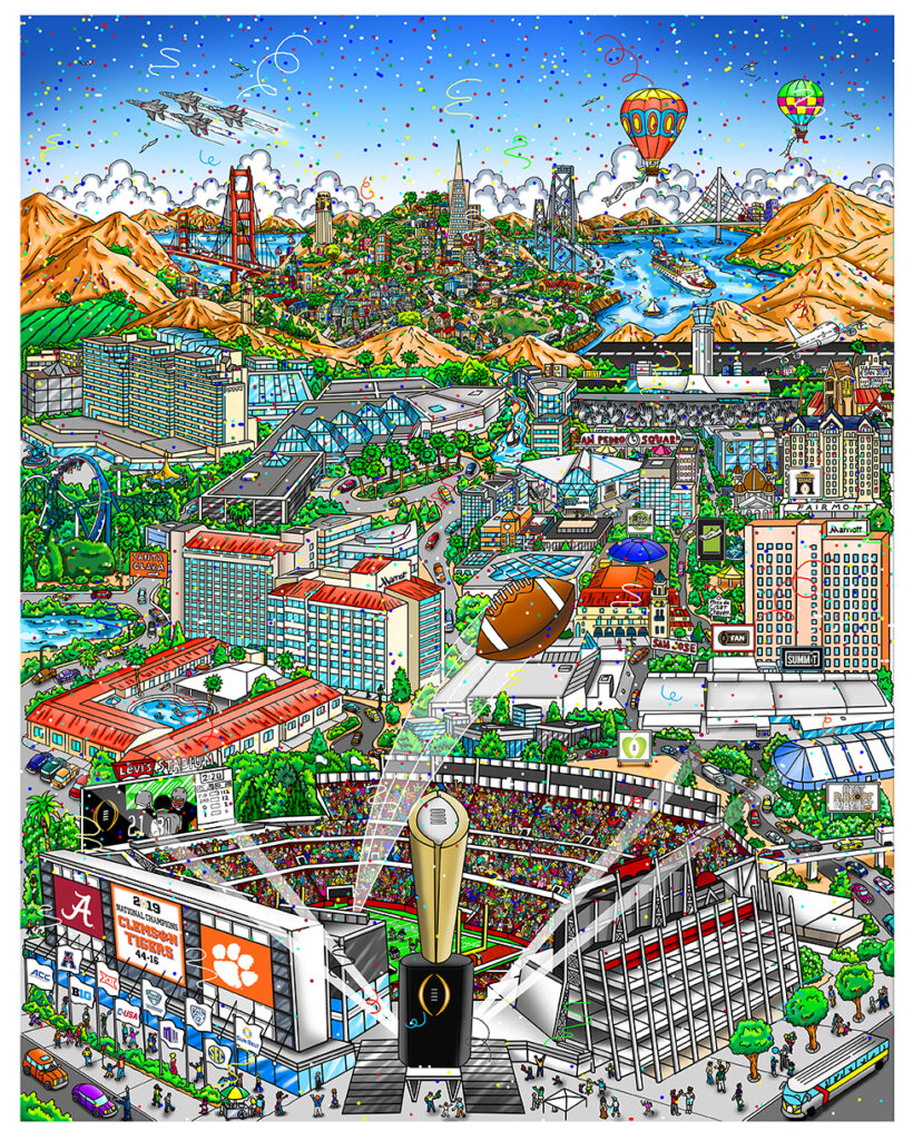 2019 College Football National Championship Game, The Official Art Image and Program by Painter Charles Fazzino. Santa Clara, CA 1.7.19 Corporate and Special Sales by The Art of the Game