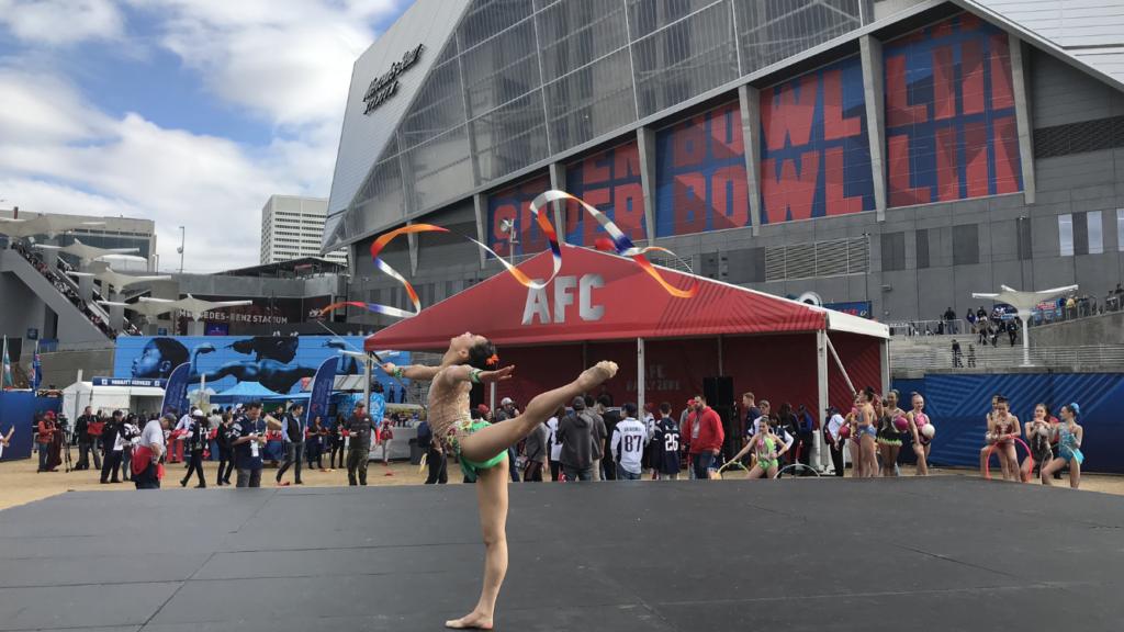 Elena Shinohara, United States National Rhythmic Gymnastics Team Member performs at the Super Bowl LIII GameDay Fan Plaza, Mercedes Benz Stadium, Atlanta - 2.3.19